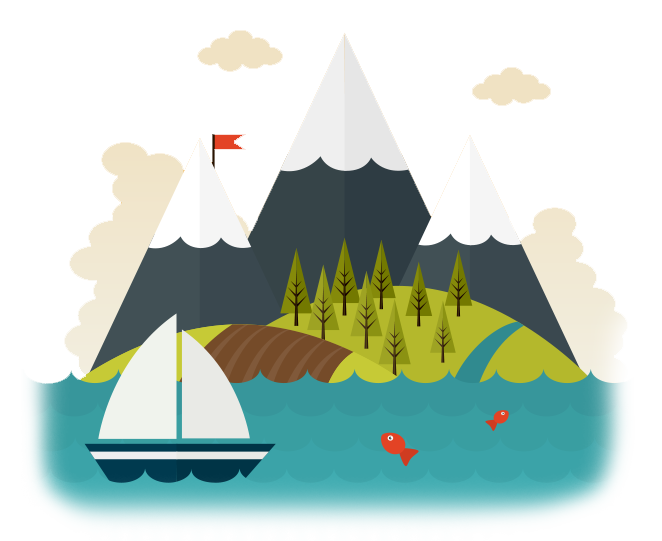 Mountains, water and boat scene